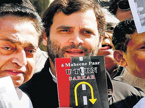 Rahul leads Cong dharna against govt