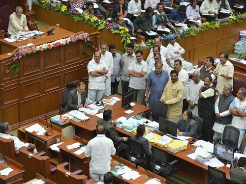 """K'Taka Assembly adjourned twice over """"tainted"""" ministers issue"""