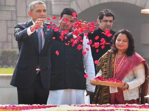 Obama pays tributes to Mahatma, calls him rare gift to world