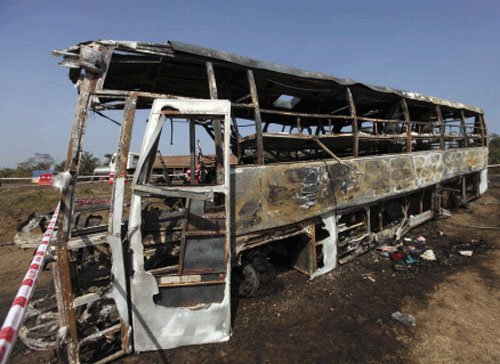 Lucky escape for passengers as Hyderabad-bound bus catches fire