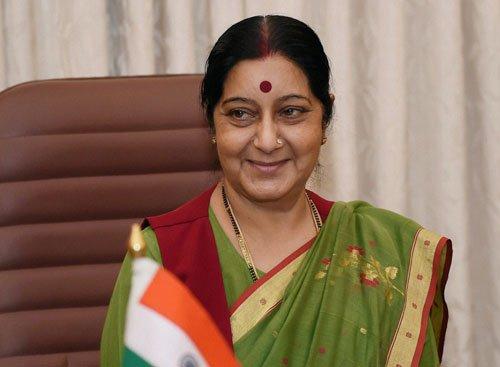 Swaraj arrives in Beijing on four-day visit