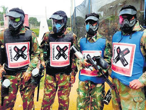 A brush with paintball