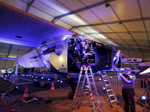 Rain, clouds delay solar-powered plane's departure from Guj