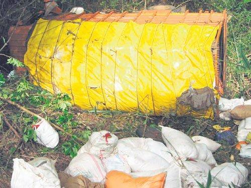 Woman labourer dies as truck falls in ditch