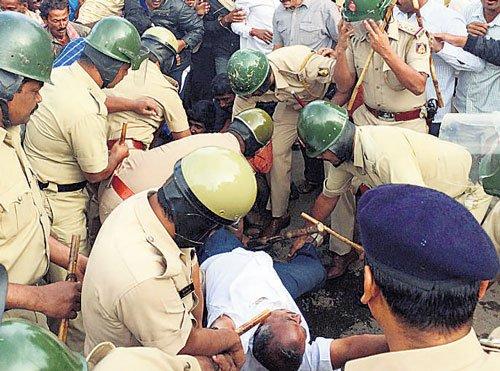 Protest turns violent; 16 policemen injured