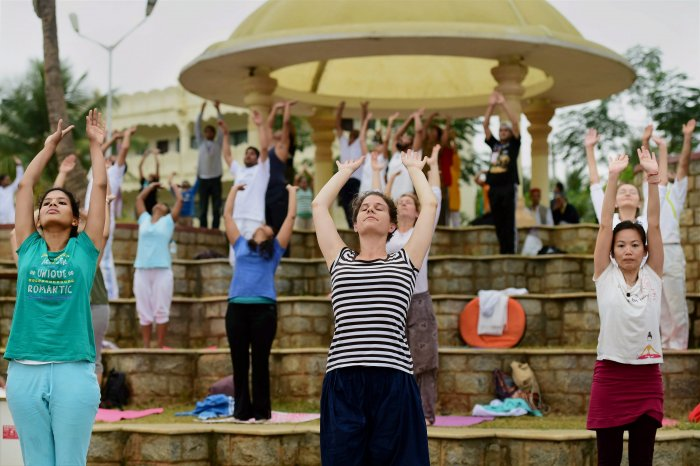 Yoga, key attraction on Singapore's first urban beach