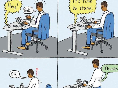 Standing desks that impart smart advice