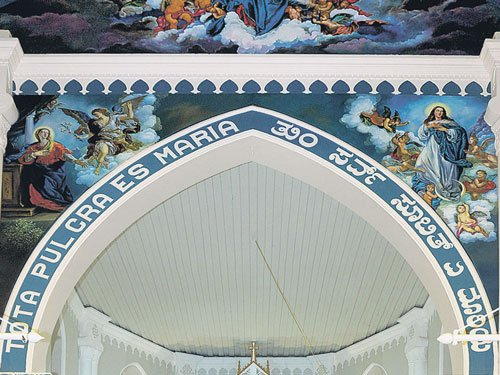 Paintings adorn the church wall