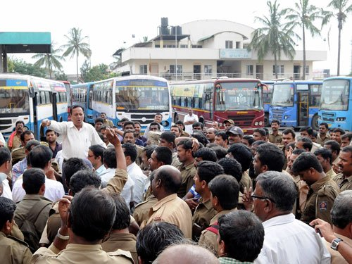 BMTC staff demand relieving orders, stage protest