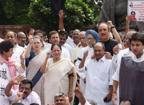 Cong protests for second day against suspension of MPs