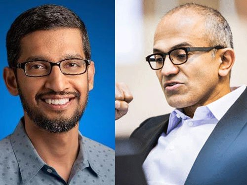 Two Indian CEOs in run for tech supremacy