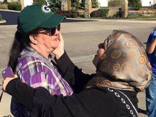 Photos of hug given at anti-Islam demonstration go viral