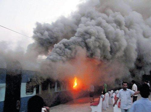 Three trains catch fire at Puri station