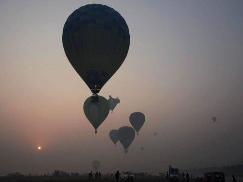 Agra sky filled with hot air balloons