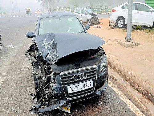 Three injured in car pile-up
