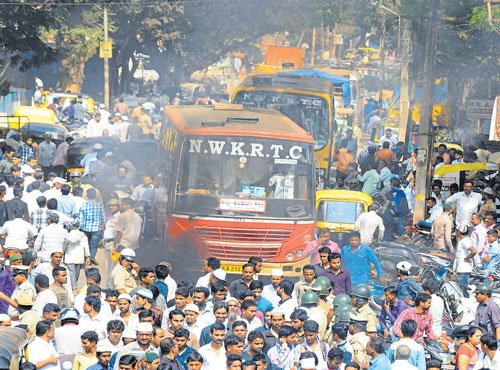 Vandalism in Old Hubballi after rally