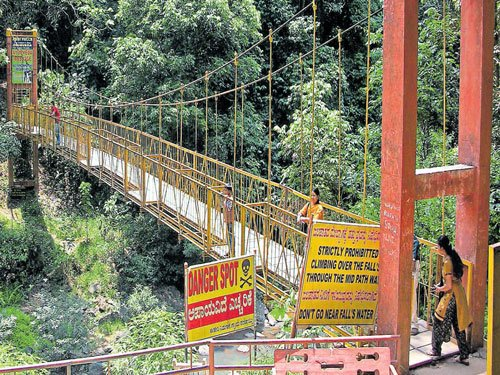 Hanging bridge near Abbey Falls in need of repair