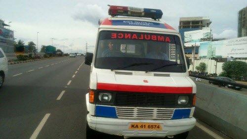 Ambulance carrying six injured kids hits bike; three get hurt