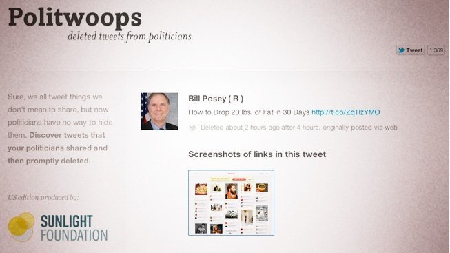 Recover politicians' deleted tweets on Politwoops