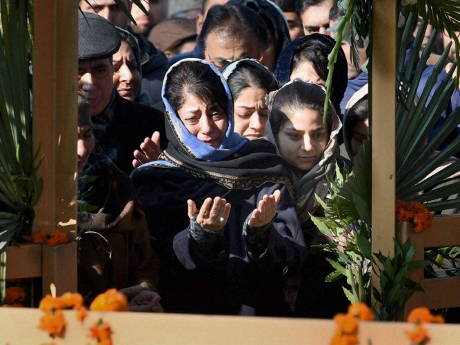Emotional scenes at Mufti mourning ceremony