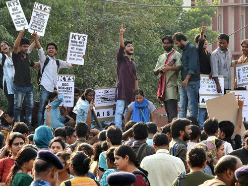 Occupy UGC: Students protest outside HRD Ministry, start postcard campaign