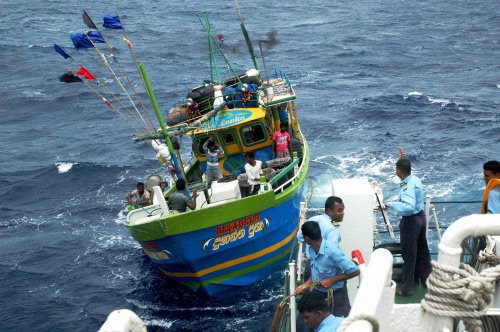 55 released Indian fishermen lodged in Jaffna marriage hall