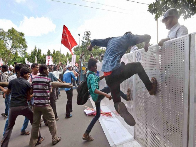 Dalit student's death: Students protest outside HRD min,70 held