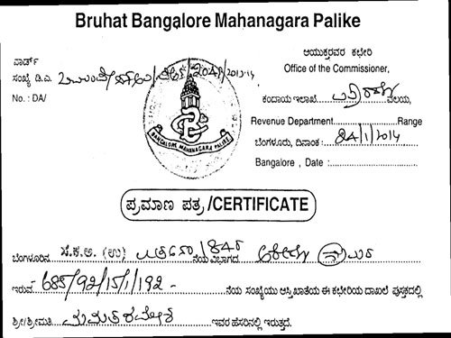 A peek into the shady business of khatas deccan herald sample of a fraudulent bbmp document yadclub Choice Image