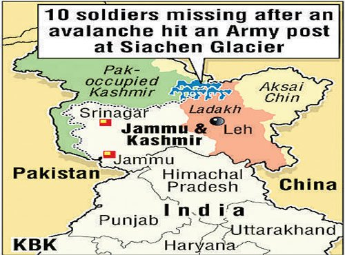 10 soldiers missing in Siachen