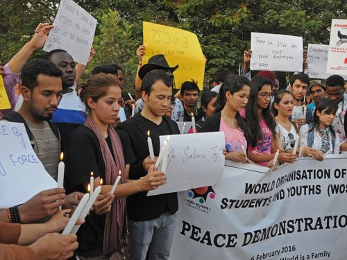 Video: Foreign students march for peace in Bengaluru