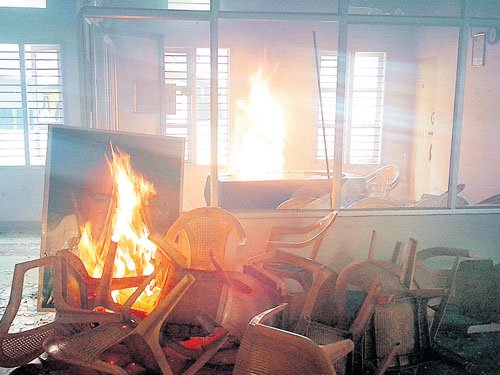 Disgruntled party workers set JD(S) office on fire