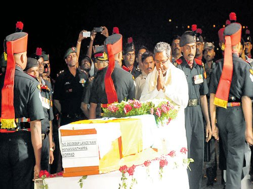 State funeral for soldier Hanmanthappa today