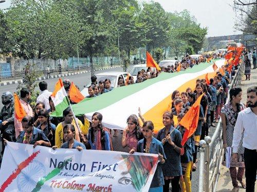 ABVP takes out Tri-colour march