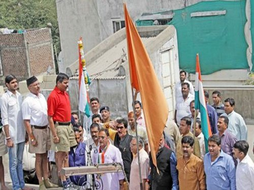 Congress hoists national flag atop RSS office in Indore
