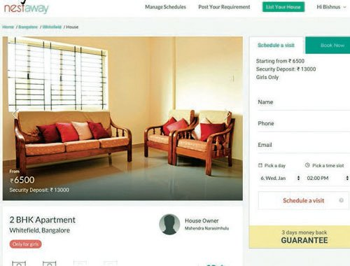 Rent a house online, pay just 2-month security deposit