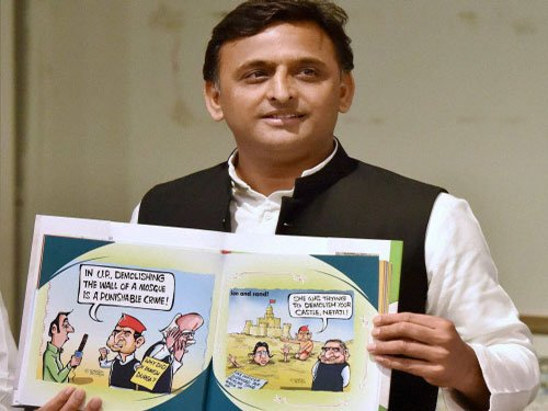 Akhilesh and his crooked nose in a book of cartoons