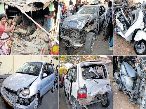 Speeding Merc rams five vehicles; one killed