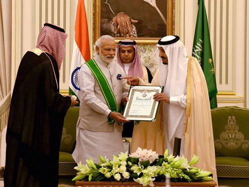 Modi conferred Saudi Arabia's highest civilian honour