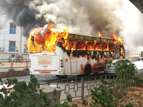 Buses set on fire, police station attacked during stir