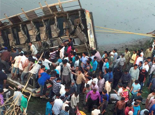 13 killed, 53 injured as bus falls into dry rivulet