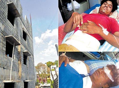3 labourers injured  in building crash