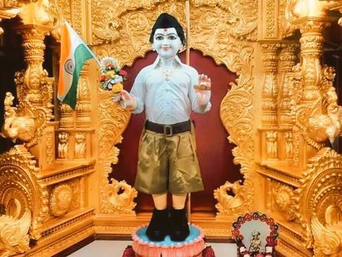 Row sparked as Lord Swaminarayan idol is dressed up in RSS uniform
