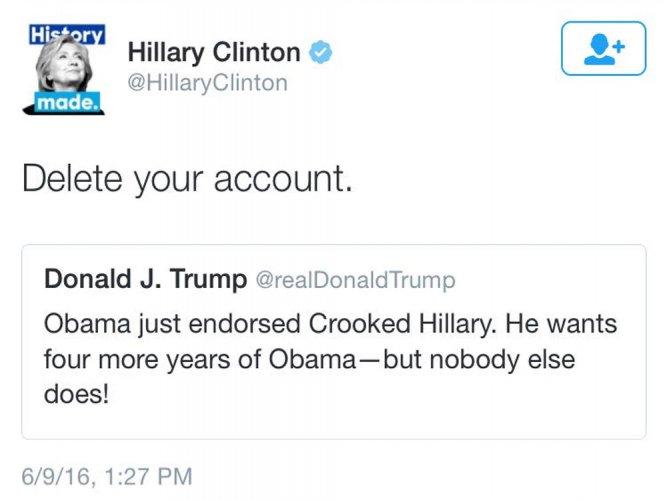 Clinton trolls Trump on Twitter: 'Delete your account'