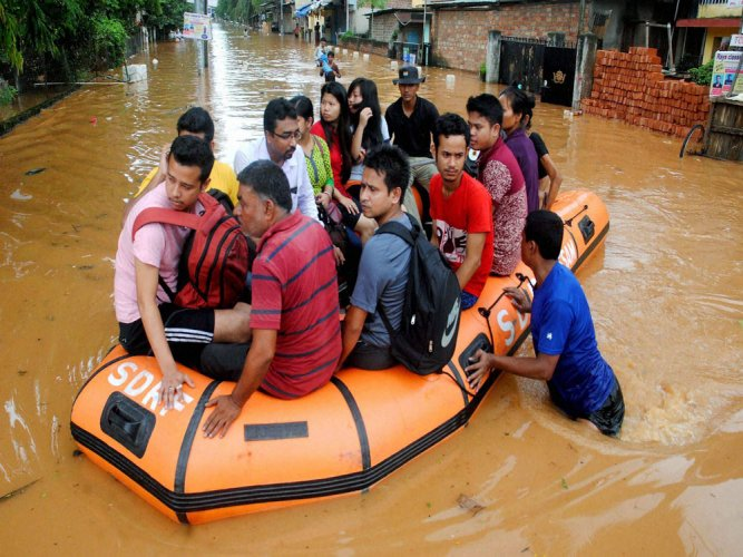 Assam floods affect 1.05 lakh, two washed away; rains in north