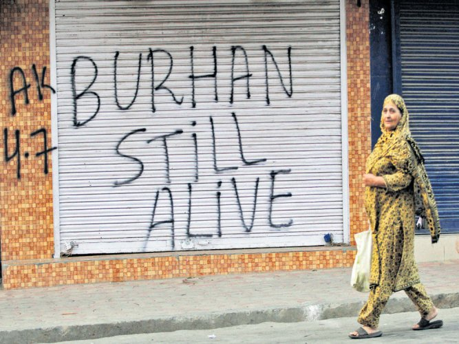 Pro-Burhan graffiti appear in Srinagar