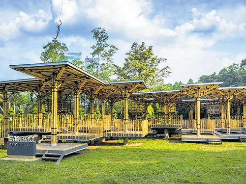 Playhouse made of bamboo