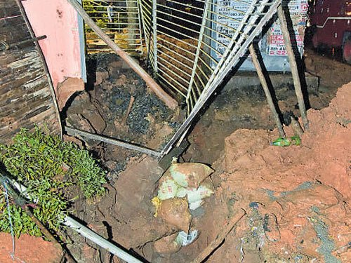 Two men injured in mud wall collapse