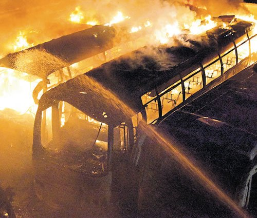 Vandals set ablaze  36 buses of private travel company