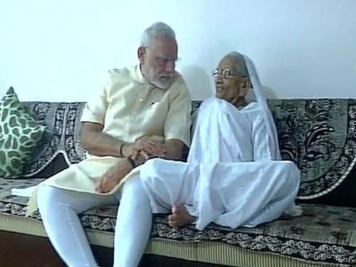Modi takes blessings of mother on 66th birthday