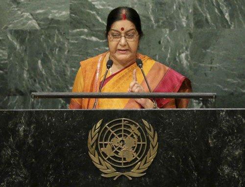 Introspect first, Sushma to Pak; raises Baloch at UN